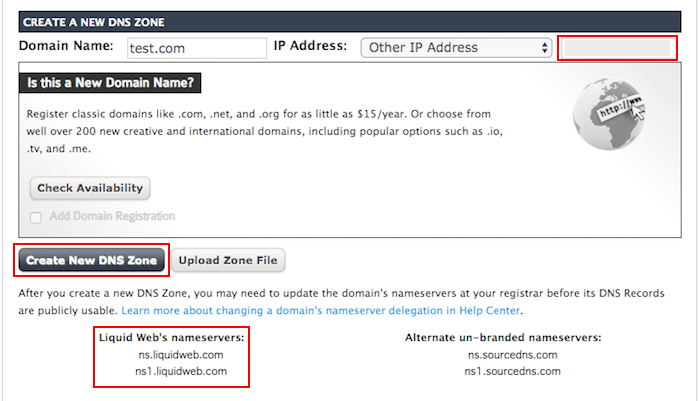 liquidweb create new dns zone page