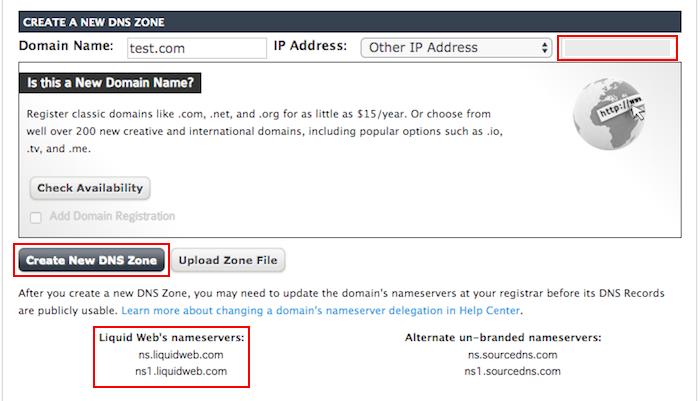 liquidweb create new dns zone page